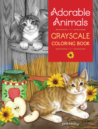 Adorable Animals Grayscale Coloring Book by Jane Maday