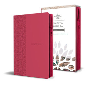 Santa Biblia RVR 1960 - Tamaño manual, letra grande, cuero de imitación, color fucsia, con cremallera / Spanish Holy Bible RVR 1960, Handy Size, Large Print