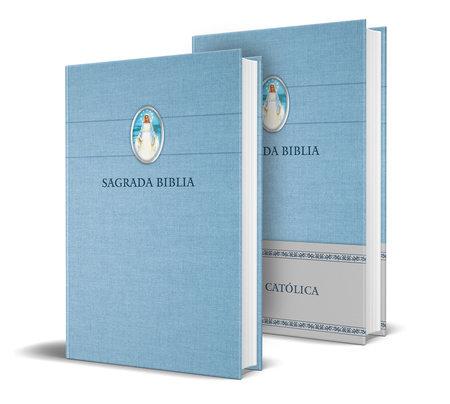 Biblia Católica en español. Tapa dura azul, con Virgen Milagrosa en cubierta / Catholic Bible. Spanish-Language, Hardcover, Blue, Compact by
